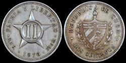 World Coins - 1916 Cuba 2 Centavo - 1st Republic - AU