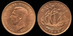 World Coins - 1944 Great Britain 1/2 Penny BU