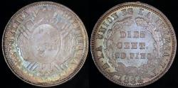 World Coins - 1884 PTS-FE Bolivia 10 Centavos - Overstruck Date 1884/1833 - BU Silver