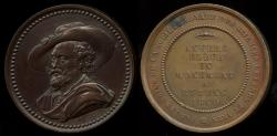 World Coins - 1840  France - Pierre-Paul Rubbens, Death Bicentenial Monument Erection in Antwerp by the Royal Society of Arts and Sciences by Laurent Joseph Hart
