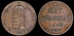 World Coins - 1848 KB Hungary 1 Krajczar XF