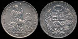 World Coins - 1916 FG Peru 1 Sol UNC