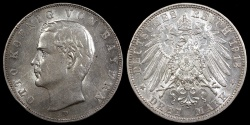 World Coins - 1913 D Bavaria (German State) 3 Mark AU