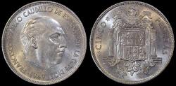 World Coins - 1949 (49) Spain 5 Pesetas - Francisco Franco - BU