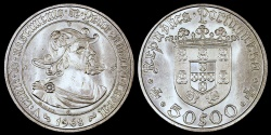 World Coins - 1968 Portugal 50 Escudos - 500th Anniversary Birth of Pedro Alvarez Cabral - Silver Commemorative BU