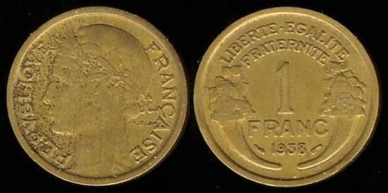 1938 France 1 Franc Xf
