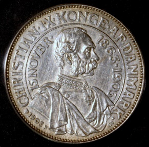 World Coins - 1903 (h) P; GJ Denmark 2 Kroner - 40th Anniversary of Reign - ANACS AU58