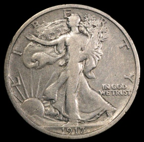 US Coins - 1917 S Walking Liberty Half Dollar (reverse mintmark) F