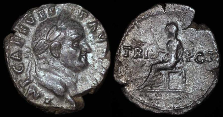 Ancient Coins - Vespasian Denarius - TRI POT - Rome Mint