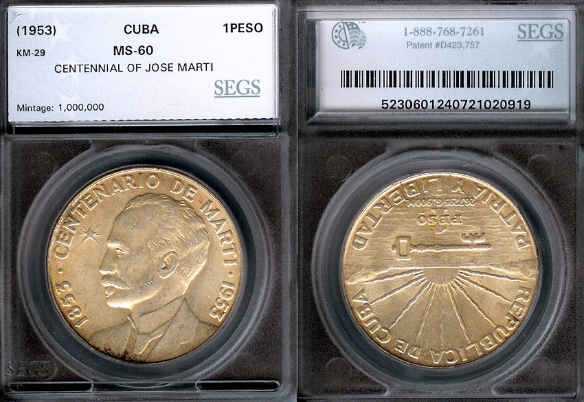 World Coins - 1953 Cuba 1 Peso - Centennial of Jose Marti – Silver Commemorative - SEGS MS60