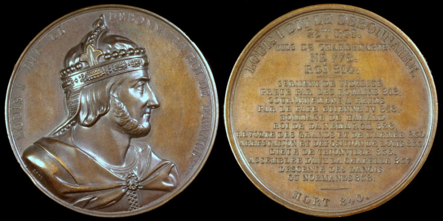 "World Coins - 1839 France - Louis I, ""The Pious or The Fair"" King of Aquitaine and King of the Franks (814 - 840) by Armand-Auguste Caqué for the ""Kings of France Series"" #25"