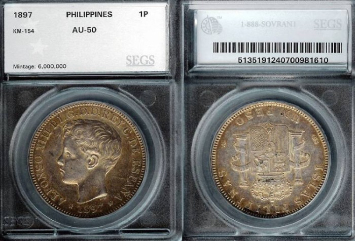 World Coins - 1897 SGV Philippines 1 Peso - Spanish Colony - Alfonso XIII - SEGS AU50