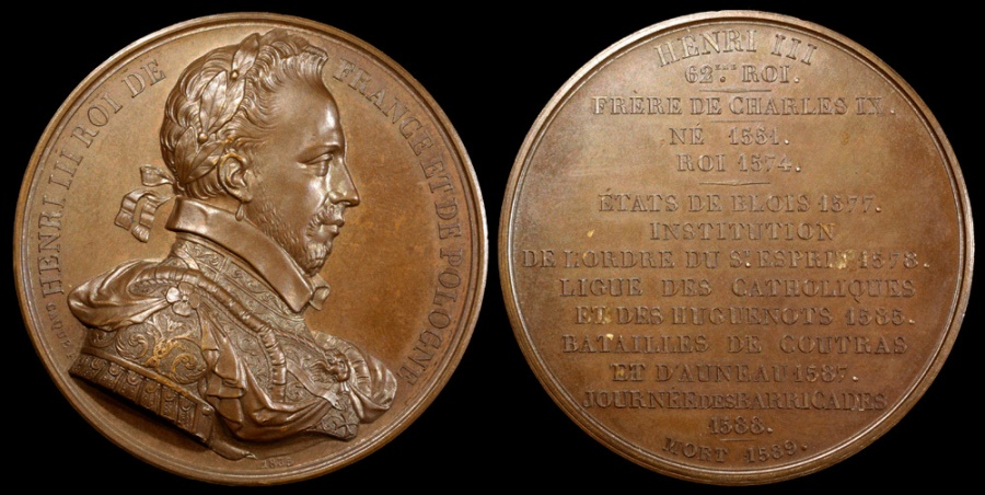 World Coins - 1835  France - King Henry III, Monarch of the House of Valois, monarch of the Polish-Lithuanian Commonwealth, King of France (1551-1589) by Armand-Auguste Caqué #62