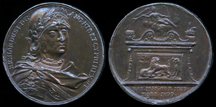 """World Coins - 1731 Great Britain – King Richard I by Jean Dassier (From his series """"Kings and Queens of England"""")"""