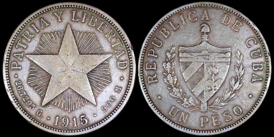 "World Coins - 1915 Cuba 1 Peso - ""Star Peso"" - High Relief Star - XF"