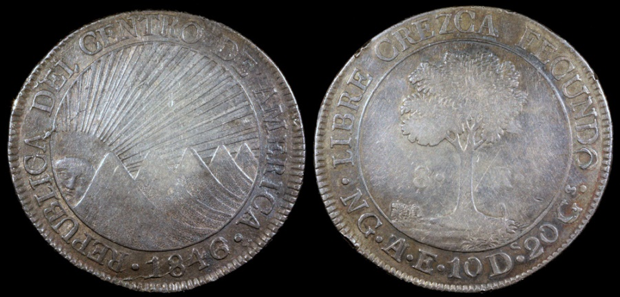 World Coins - 1846/2 NG-AE/MA - Z/S Central American Republic 8 Reales AU