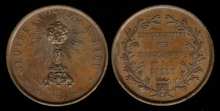 World Coins - 1852 France – Re-establishment of the Processions to Lille