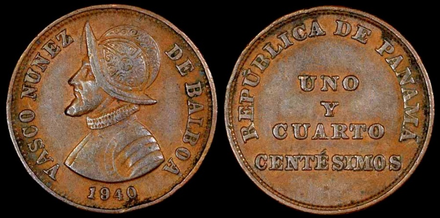 """World Coins - 1940 Panama 1-1/4 Centesimos - """"Uno Y Quarto"""" Vasco Núñez de Balboa  - AU"""