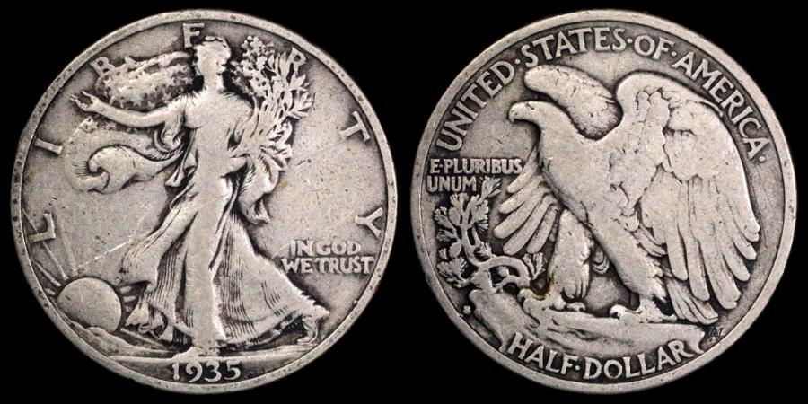 1935 S Walking Liberty Half Dollar Vf