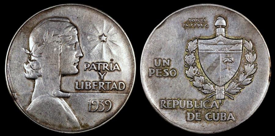 "World Coins - 1939 Cuba 1 Peso ""ABC"" XF"