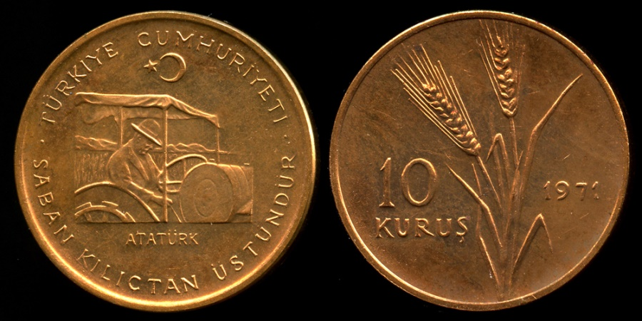 "World Coins - 1971 Turkey 10 Kurus - FAO ""Food fro All"" - BU"