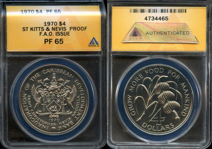 World Coins - 1970 St. Kitts & Nevis 4 Dollars - F.A.O. Issue - ANACS PF65