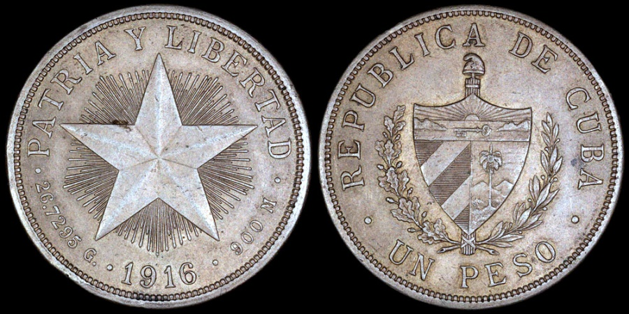 "World Coins - 1916 Cuba 1 Peso - ""Star Peso"" - AU"