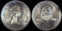 World Coins - 1974 Fiji 25 Dollars - Elizabeth II & King Cakobau - 100th Anniversary of Cession to Great Britain Silver Commemorative - Tiny Mintage of 2,400 Pieces - BU