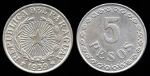 World Coins - 1939 Paraguay 5 Pesos UNC