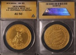 Us Coins - 1876 United States Centennial Exposition, Philadelphia, Pennsylvania Medal (S0-Called Dollar) ANACS AU50 Gilt