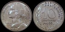 World Coins - 1966 France 10 Centimes AU