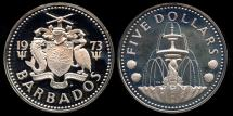 World Coins - 1973 FM Barbados 5 Dollars Cameo Proof