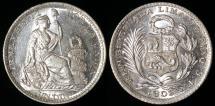 World Coins - 1903 JF Peru 1 Dinero - 1903/803 Overdate - BU