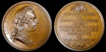 World Coins - 1754 France - King Luis XV - Laying of the Cornerstone of the Equestrian Statue of Louis XV in Paris by Jean Duvivier