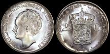 World Coins - 1944 D Curacao 2-1/2 Gulden - Queen Wilhelmina - BU