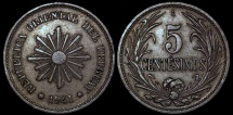 World Coins - 1941 So Uruguay 5 Centesimos - Decimal Coinage - XF