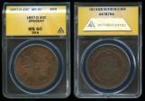 World Coins - 1857 D Uruguay 40 Centesimos ANACS MS60