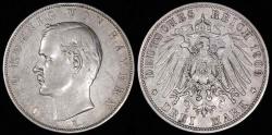 World Coins - 1909 D Germany - Bavaria 3 Mark - Otto Koenig - XF Silver