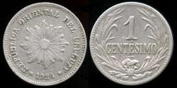 World Coins - 1924 P Uruguay 1 Centesimo AU