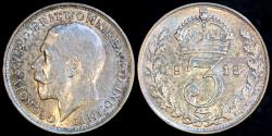World Coins - 1918 Great Britain 3 Pence - George V - AU