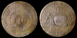World Coins - 1835 Brazil 40 Reis Counterstrike - Pedro I - VF