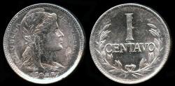 World Coins - 1956 Colombia 1 Centavo (Overstruck Date) BU