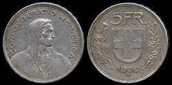 World Coins - 1939 B Switzerland 5 Francs AU