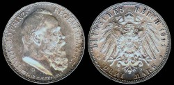 World Coins - 1911 D Bavaria (German States) 3 Mark BU