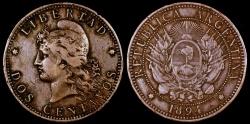 World Coins - 1894 Argentina 2 Centavo VF