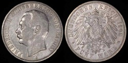 World Coins - 1908 D Germany - Bavaria 5 Mark - Otto Koenig - AU Silver