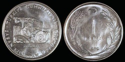 "World Coins - 1979 Turkey 1 Lira - FAO ""Ataturk on Tractor"" Commemorative (Only 10,000 pieces were struck) - BU"