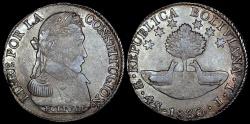 World Coins - 1830 PTS-JL Bolivia 4 Soles - Simon Bolivar - XF