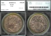 World Coins - 1833 Baden Thaler SEGS AU50