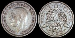 World Coins - 1935 Great Britain 3 Pence - George V - XF